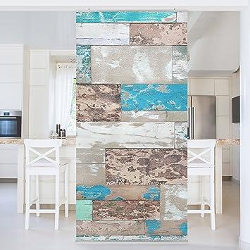 Maritime Farben flächenvorhang set maritime planks holz farben steg wand rustikal