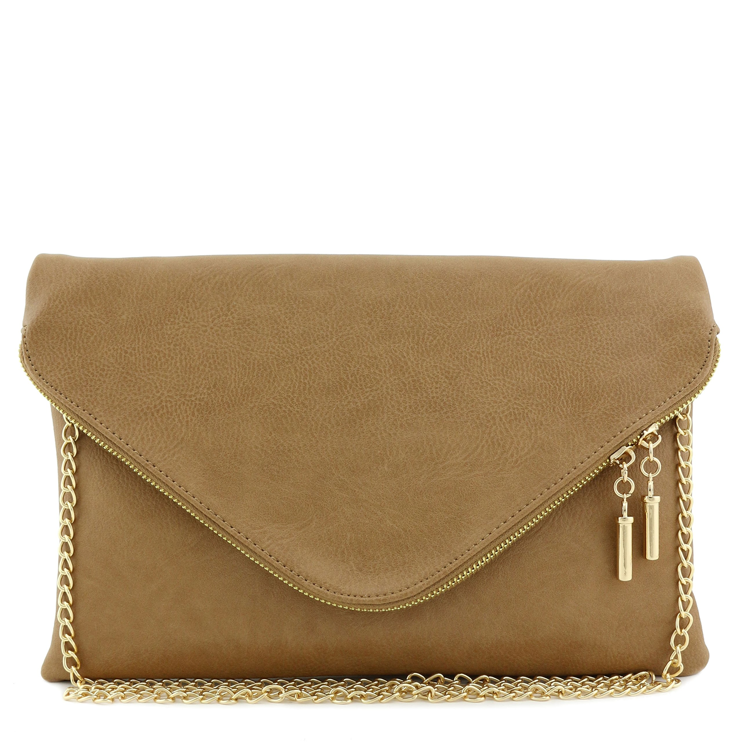 Large Envelope Clutch Bag with Chain Strap Stone