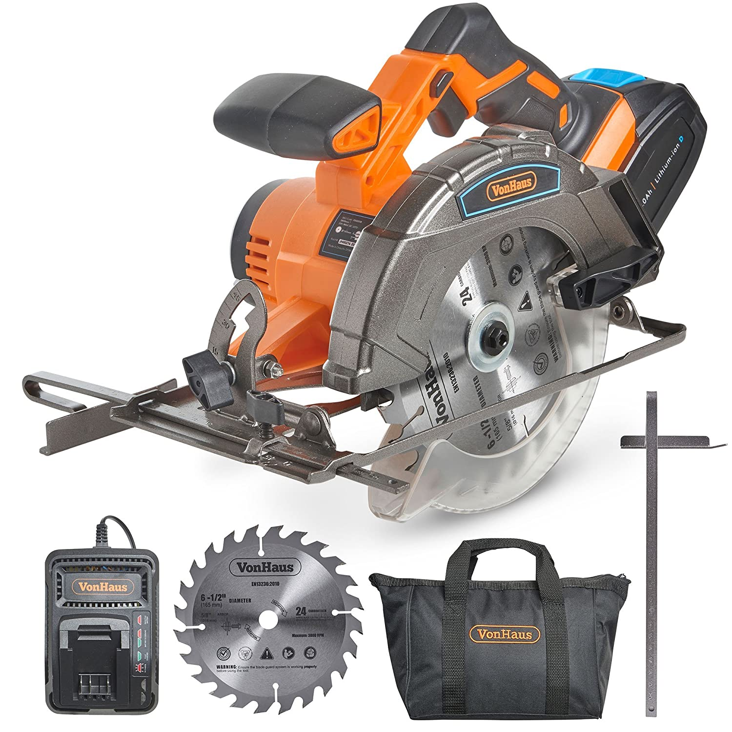 "#6 - VonHaus 20V MAX Cordless Circular Saw with Brake and 2x 6-1/2"" Saw Blades - 3.0Ah Lithium-Ion Battery and Charger Kit Included"