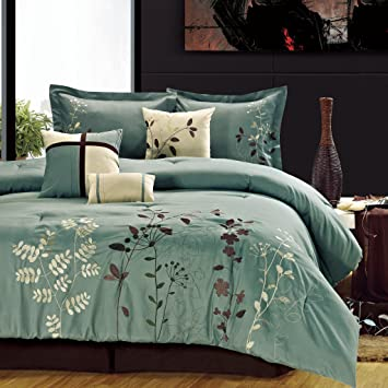Chic Home Bliss Garden 8 Piece Embroidered Comforter Set, King, Sage