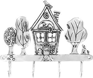 Basic Spirit Handcrafted Home Sweet Home Pewter Hanger for Wall with 4 hooks (use for keys, aprons, pot holders, hand towels, robes, jackets, more)