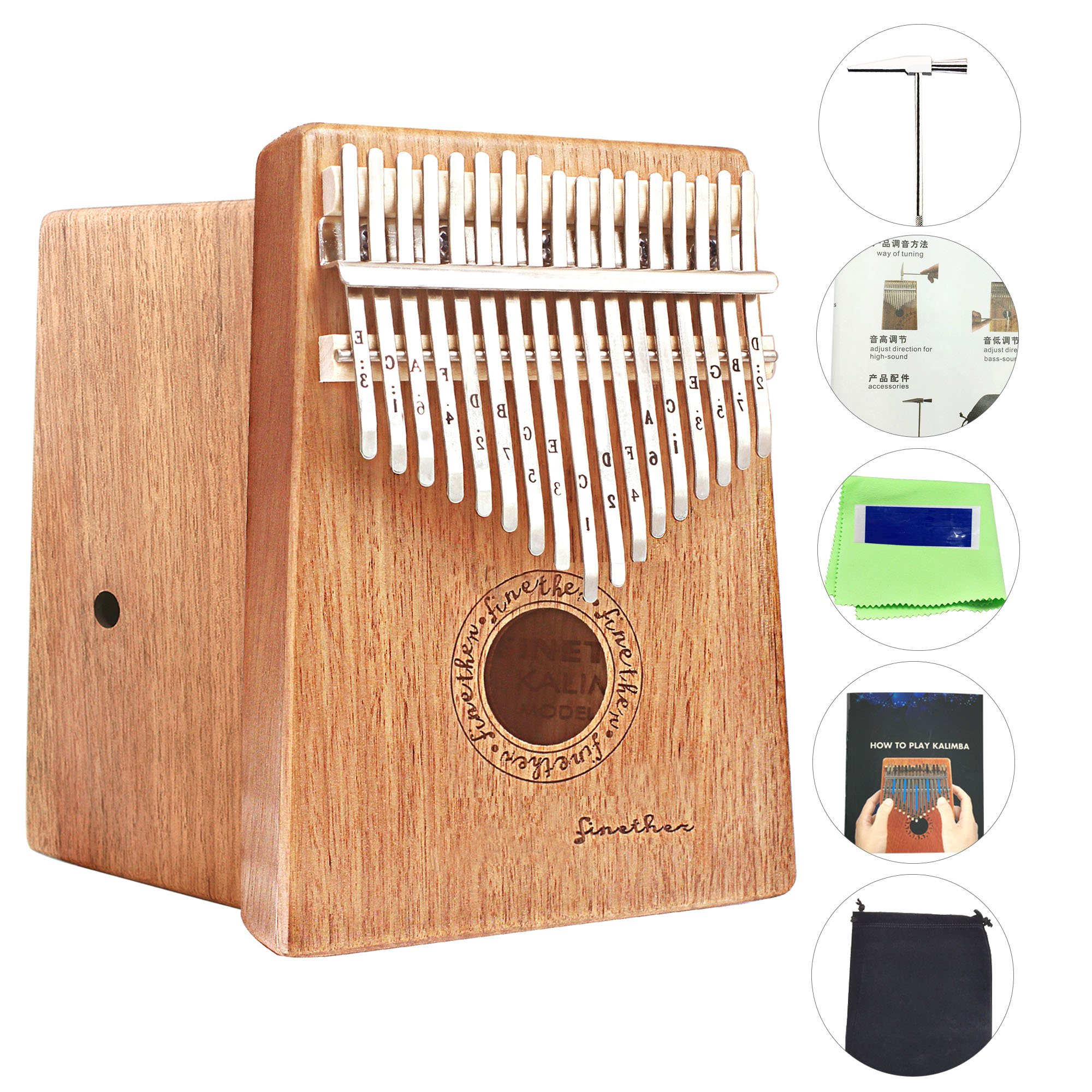 17 Keys Mahogany Kalimba Thumb Piano Wood Mbira Sanza Finger Percussion Pocket Keyboard w/Calibrating Tune Hammer for Beginners and Children (Mahogany) by AHongem (Image #1)