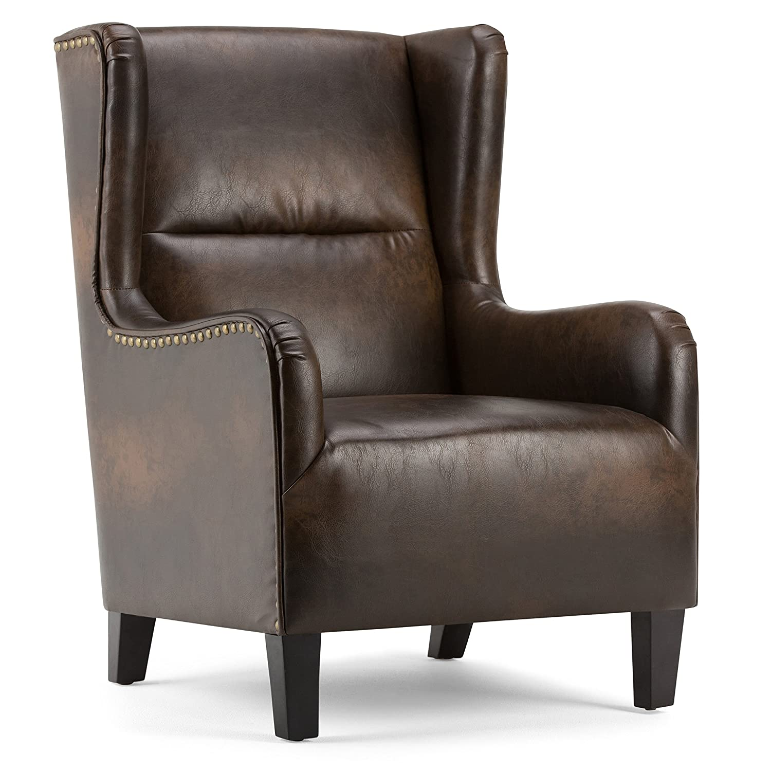 Incroyable Amazon.com: Simpli Home AXCCHR 019 DBR Taylor 28 Inch Wide Traditional  Wingback Armchair In Distressed Brown Bonded Leather: Kitchen U0026 Dining
