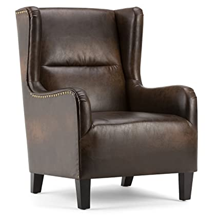 Amazing Simpli Home Axcchr 019 Dbr Taylor 28 Inch Wide Traditional Wingback Armchair In Distressed Brown Bonded Leather Short Links Chair Design For Home Short Linksinfo