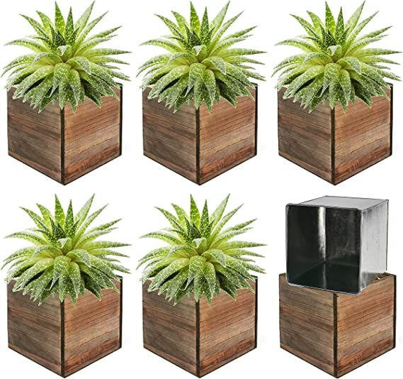 Amazon Com Cys Excel Cube Planter Box With Removable Zinc Metal Liner 4 X4 X4 6pcs Multiple Size Choices Wood Square Planter Indoor Decorative Window Box Kitchen Dining