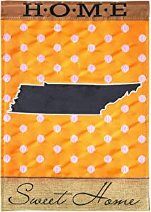Magnolia Garden State of My Heart Tennessee Home Sweet Home Orange 13 x 18 Small Double Applique Burlap Outdoor House Flag