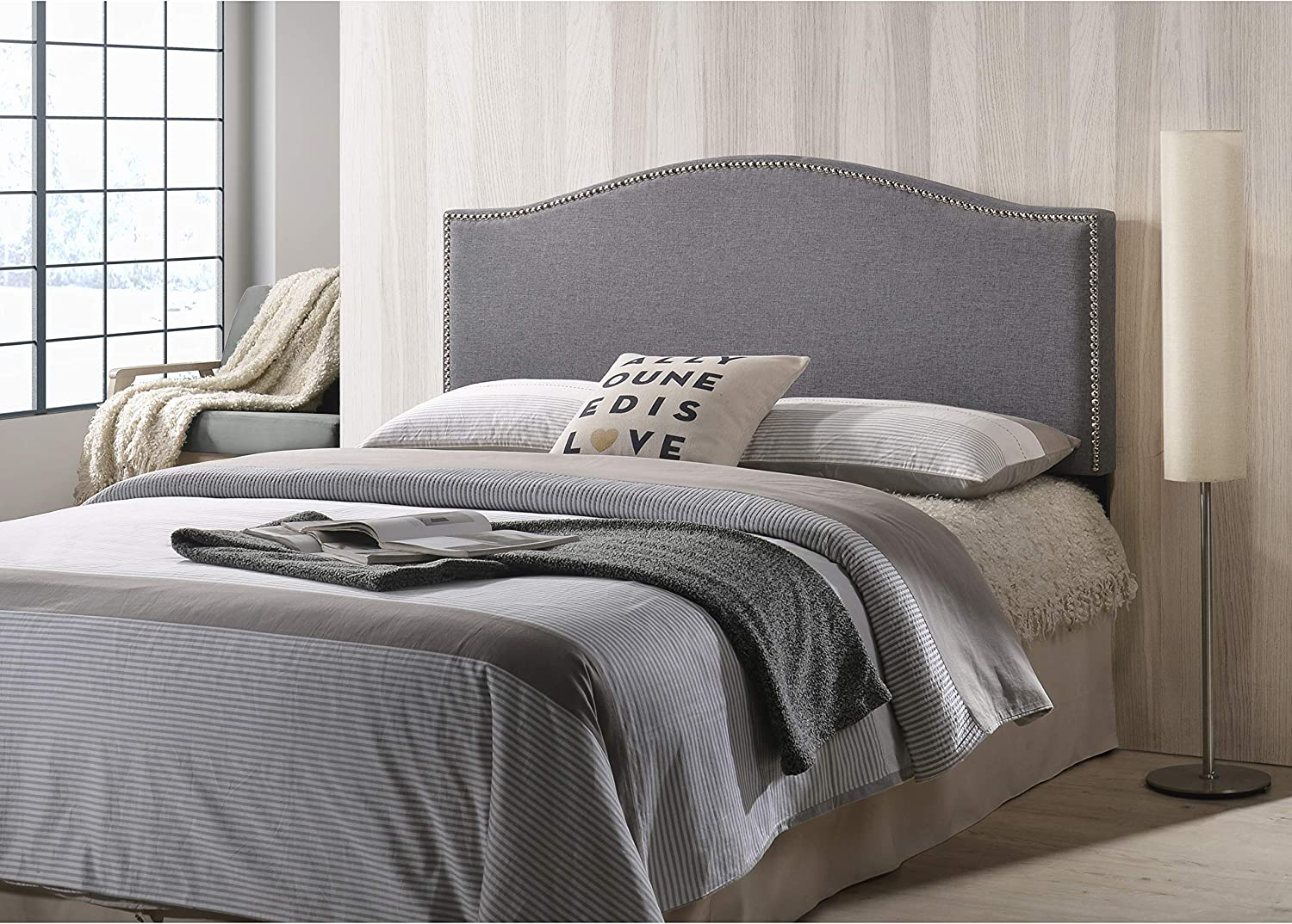 POLY BARK Ariella Headboard with Nailhead Trim, Queen Size, Gray