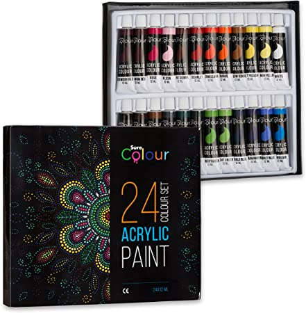 Acrylic Paint 24 Colour Set 12ml Tubes Perfect For Kids Students And Artists Alike Paints For Painting On Paper Canvas Wood Clay Fabric Nail Art
