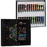 Acrylfarben-Set mit 24 Tuben à 12 ml, Wasserfeste Farben für Malerei auf Papier, Leinwand, Holz, Keramik und Stoff, Hochwertige Ölfarben von Sure Colour zum kreativen Malen für Künstler und Kinder