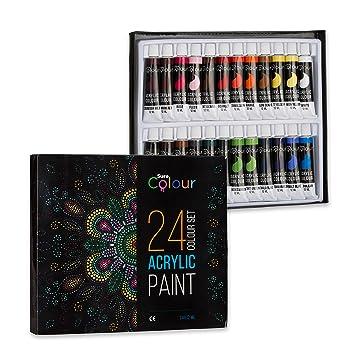 Elegant Acrylfarben Set Mit 24 Tuben à 12 Ml, Wasserfeste Farben Für Malerei Auf  Papier