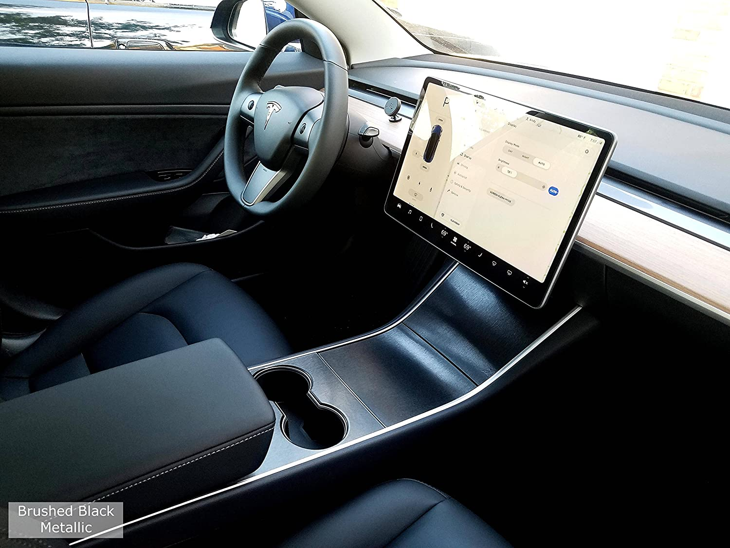 EV Wraps Tesla Model 3 Center Console Wrap - Brushed Black Metallic