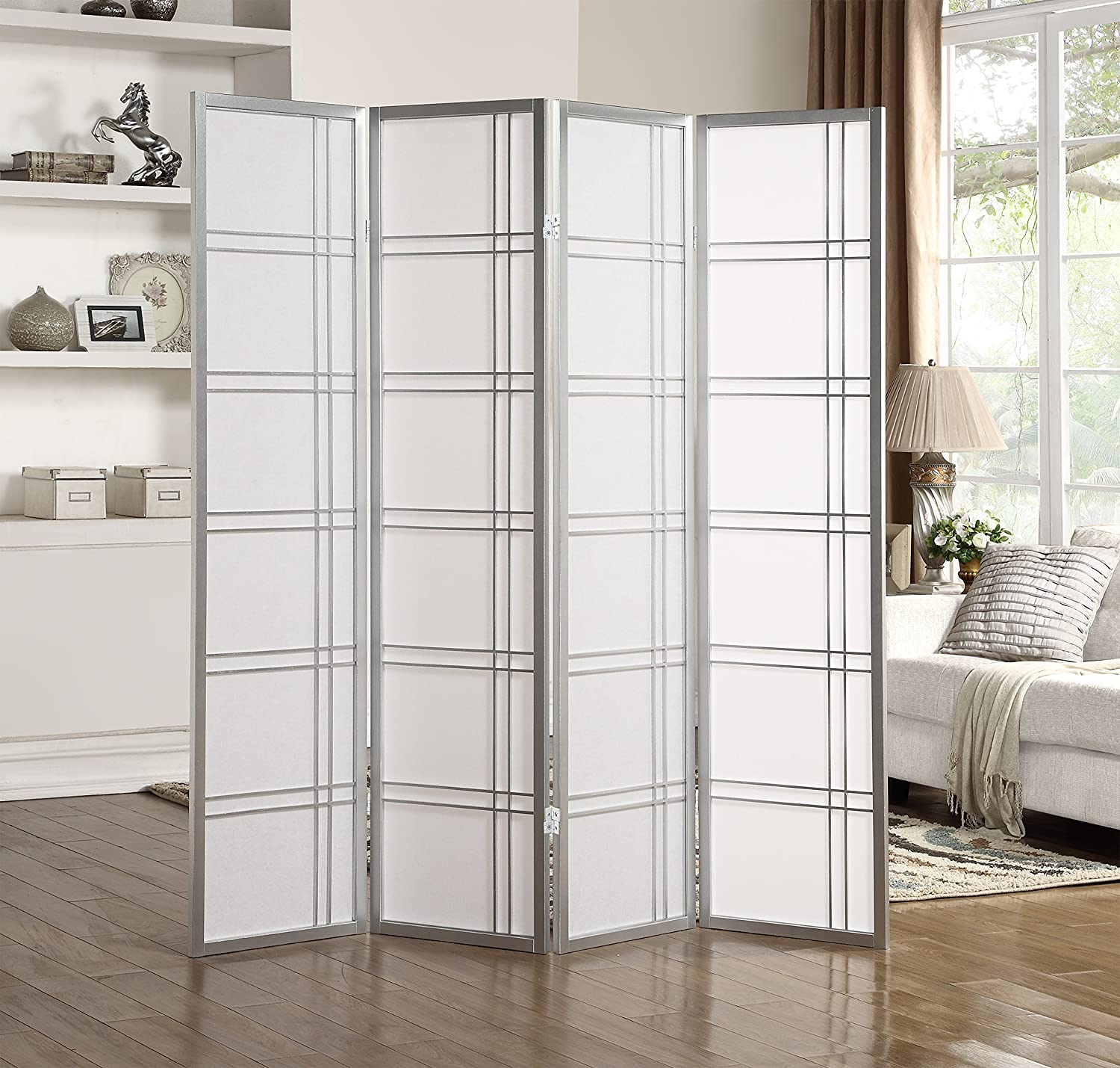 Roundhill Furniture Seto 4-Panel Room Divider Screen, Silver