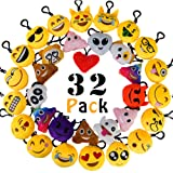 """Amazon Price History for:MelonBoat 32 Pack Emoji Mini Plush Pillows, Keychain Decorations, emoticon pillow, Kids Party Supplies Favors, 2"""" Set of 32"""