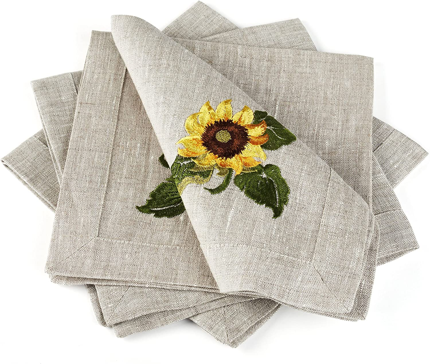 Linen Cloth Table Napkins Sunflowers with Embroidery — Soft and Durable — Set of 4, 16