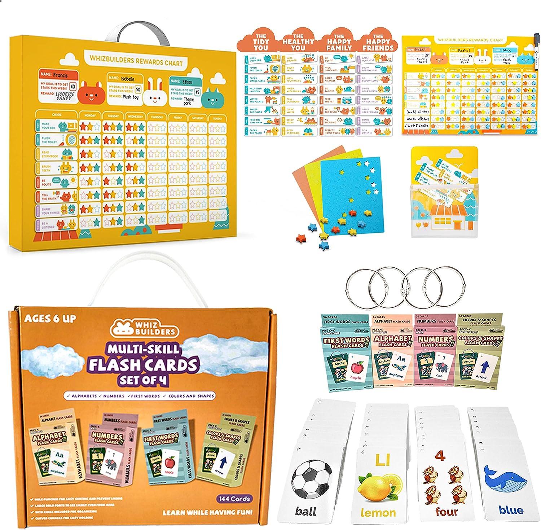WhizBuilders Behavior Reward Star Chart & Multi- Skill Flash Cards Bundle for Kids - Education Learning STEM Materials - Homeschool Kindergarten Preschool Activities Supplies Toddlers Boys Girls