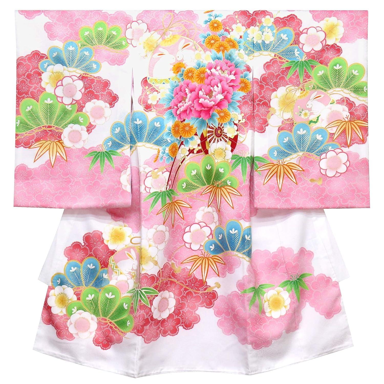 お宮参り 女の子 着物 初着 産着 上質国産生地 洗えるお祝い着(合繊)「白色、花車にうさぎ」YGU106-WH   B07RJX8M75