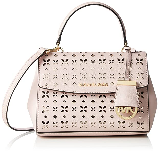 b04102669588 MICHAEL Michael Kors Ava Extra-Small Perforated-Leather Crossbody (Blossom/ Ballet)
