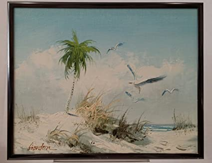 Amazon.com: Vintage Original Beach Scene Framed Oil Painting Signed ...