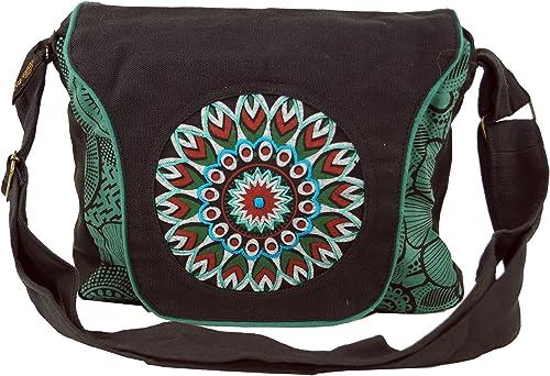 Guru Shop Schultertasche, Hippie Tasche, Goa Tasche, Umhängetasche, Handtasche Schwarzblau, HerrenDamen, Baumwolle, 22x28x6 cm, Alternative