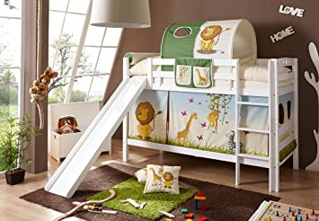 Etagenbett Mit Treppe Und Rutsche : Kinder etagenbett von paidi mit treppe und rutsche weiß gebeizt