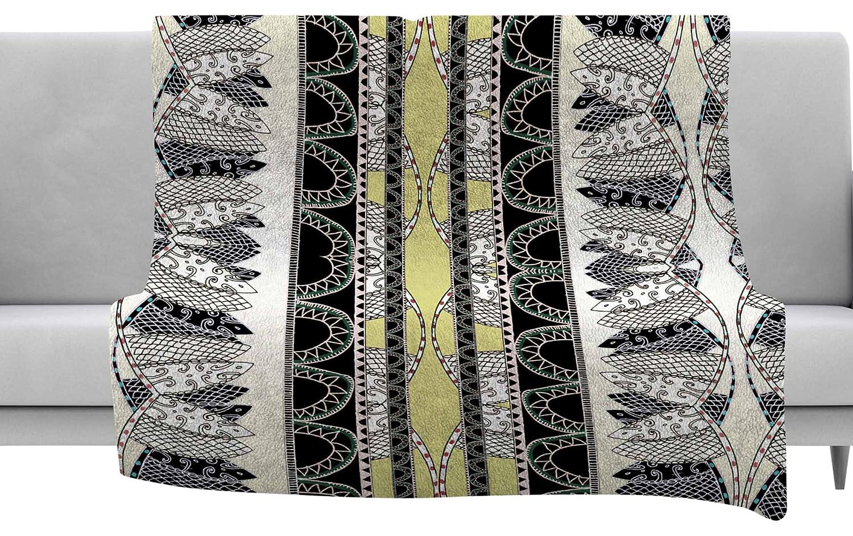 60 x 40 Fleece Blankets Kess InHouse Fernanda Sternieri Oriental Stripes Yellow Digital Throw