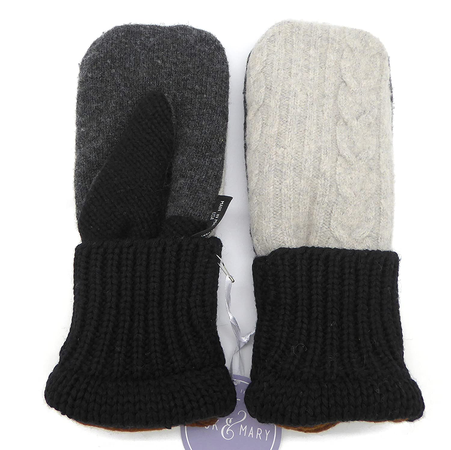 Jack Mary Designs Handmade Mens Fleece Lined Wool Mittens Made