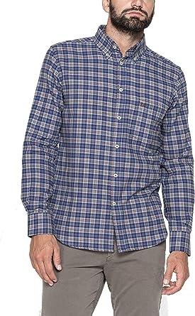 Carrera Jeans - Camisa para Hombre, a Cuadros, Franela Tejido