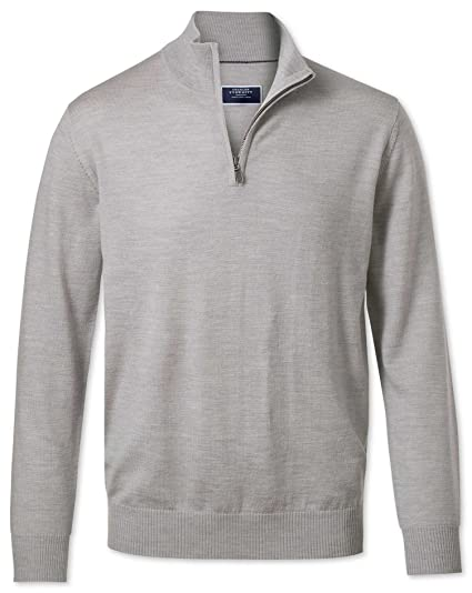f6fd1fc868f04c Silver Zip Neck Merino Wool Jumper by Charles Tyrwhitt: Amazon.co.uk:  Clothing