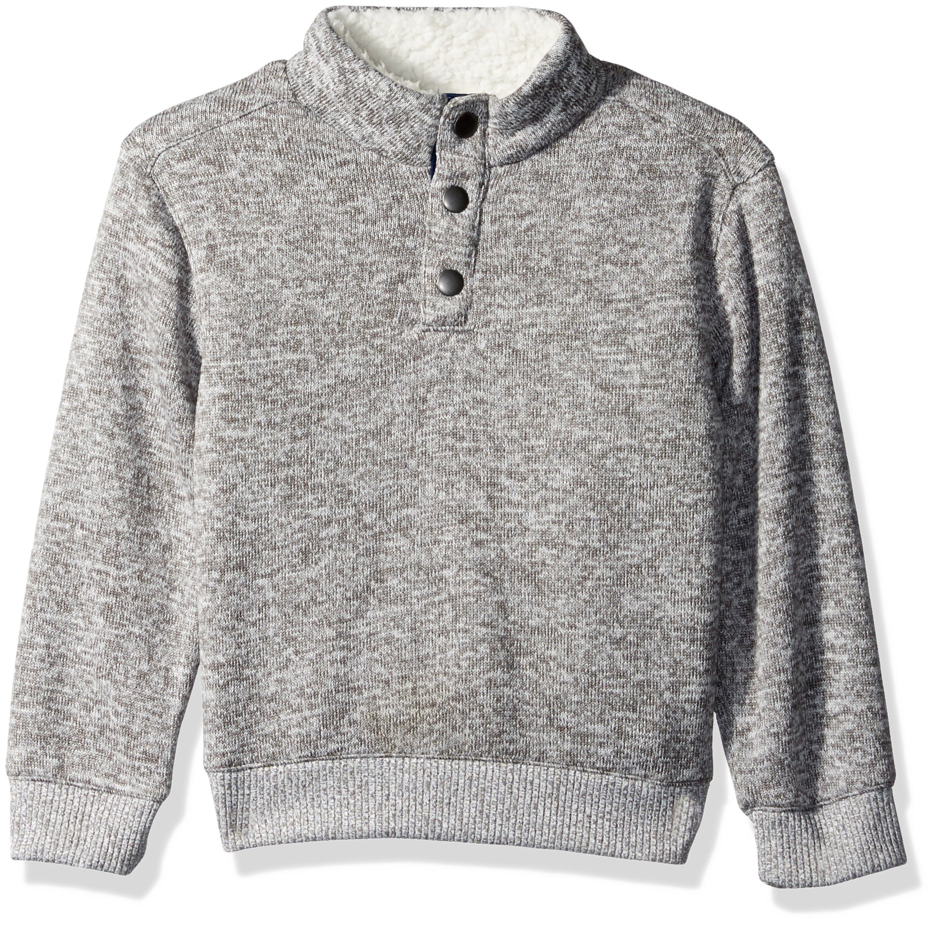 Crazy 8 Toddler Boys' Long Sleeve Mock Button Pullover, Heather Grey, 5T