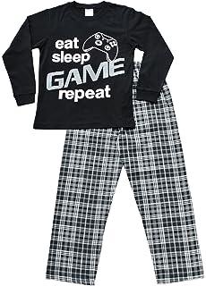 Niños comer dormir juego repetición pijama 9 A 13 años Gamer Pjs negro