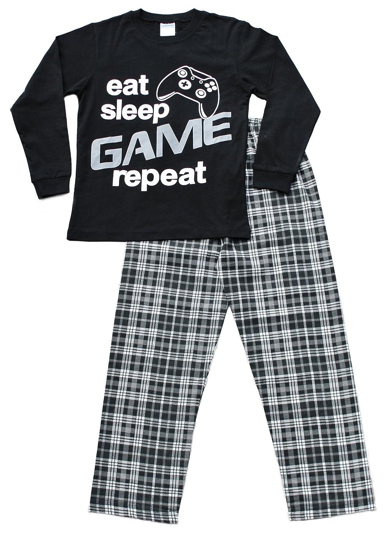 Boys Eat Sleep Game Pyjamas 9 to 13 Years Gamer PJs Black