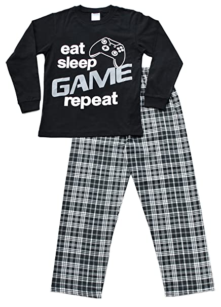 Pijama largo para niños con mensaje: «Eat Sleep Game Repeat»