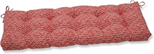 """Pillow Perfect 654737 Outdoor/Indoor Herringbone Tomato Tufted Bench/Swing Cushion, 60"""" x 18"""", Red"""