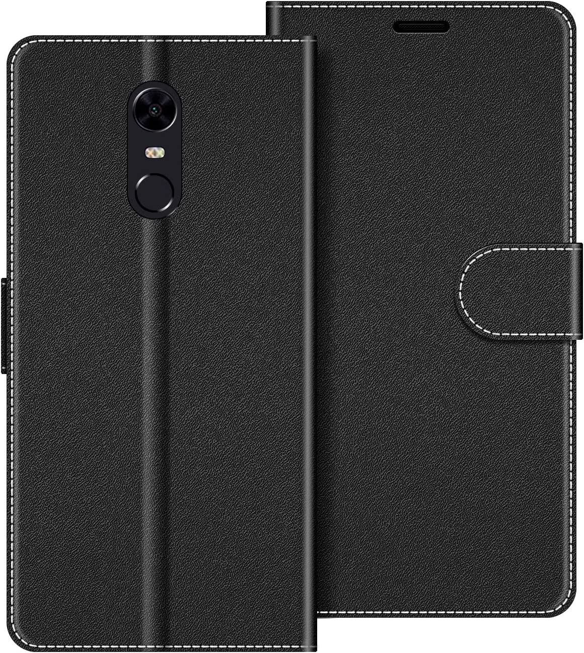 COODIO Funda Xiaomi Redmi 5 Plus con Tapa, Funda Movil Xiaomi Redmi 5 Plus, Funda Libro Xiaomi Redmi 5 Plus Carcasa Magnético Funda para Xiaomi Redmi 5 Plus, Negro