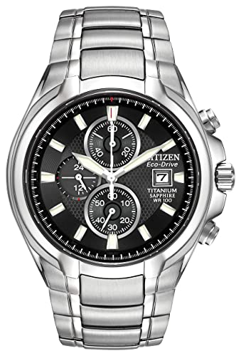 a1db0cb32 Citizen Men's Eco Drive Watch with Black Dial Chronograph Display and  Silver Titanium Bracelet CA0260-52E: Citizen: Amazon.co.uk: Watches