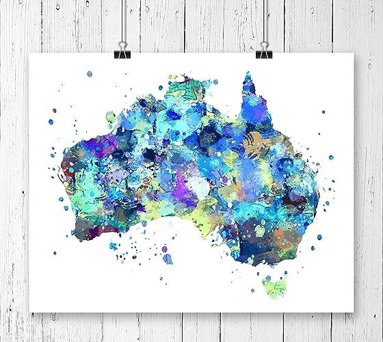 Australia Map Art.Amazon Com Australia Map Art Print Watercolor Art Print Archival