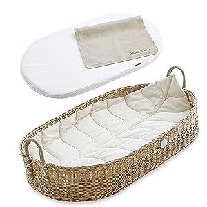 Bebe Bask Premium Baby Changing Basket - Organic Rattan Moses Basket - Luxury Leaf Liner - Thick, Soft & Waterproof Bamboo Pad - Vegan Leather Baby Changing Mat
