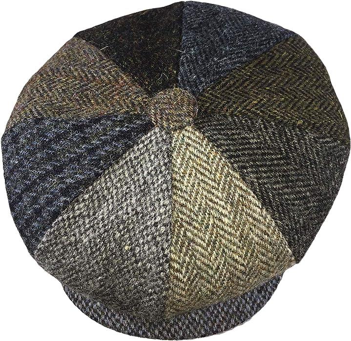GFM 8 Panel Wool Blended Patchwork Baker Boy Cap Gatsby Style hat