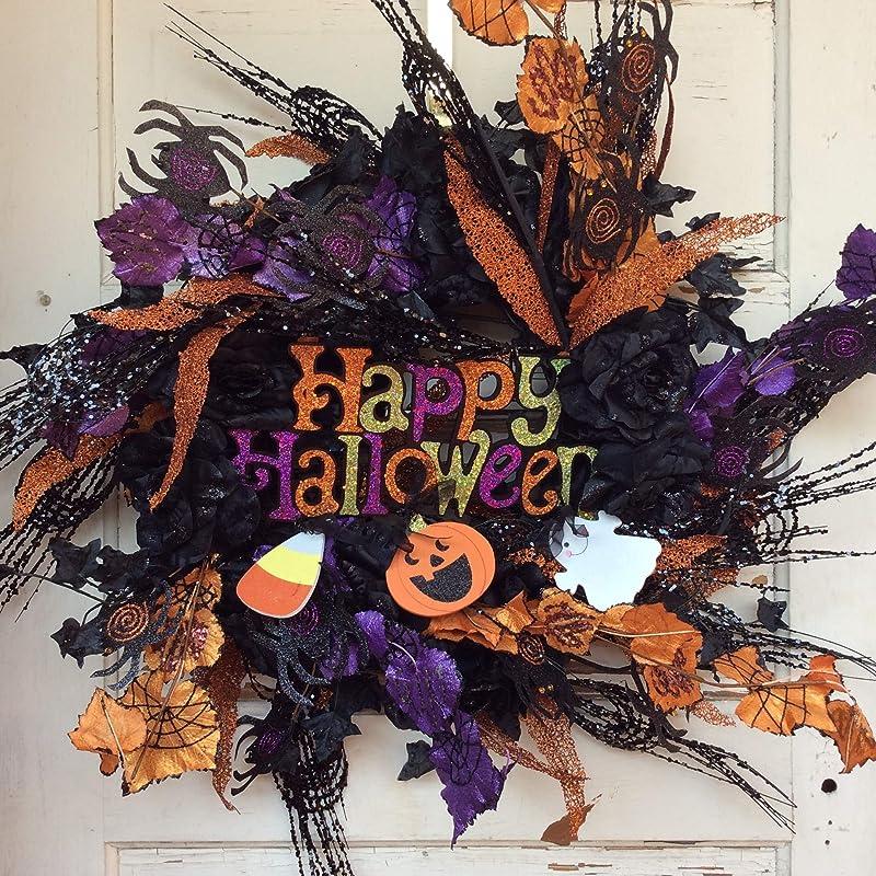 Happy Halloween Gray Black White Wreath AGD Halloween Decor