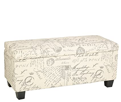 Charmant Cortesi Home Fitzgerald Script Fabric Storage Ottoman Long Bench