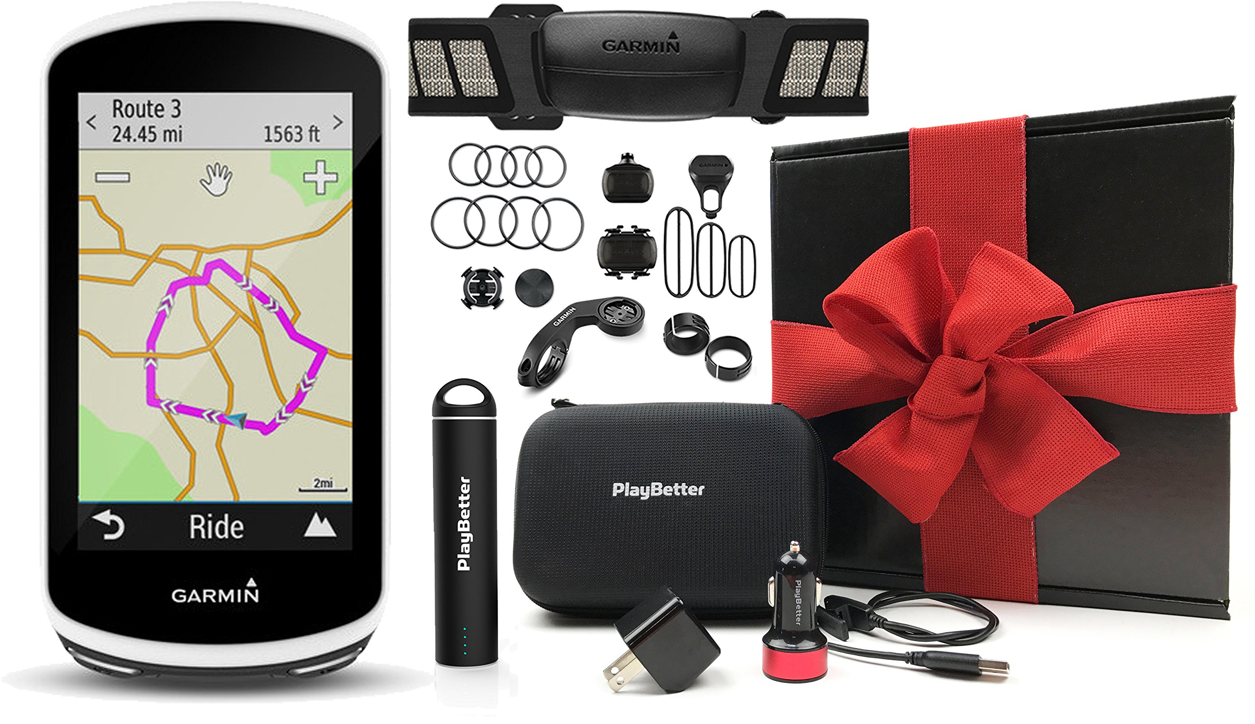 Garmin Edge 1030 Cycle Gift Box Bundle | with Garmin Chest Strap HRM, Speed & Cadence Sensors, PlayBetter Portable USB Charger, Car/Wall Adapters, Hard Case, Bike Mounts | GPS Bike Computer | Gift Box by PlayBetter