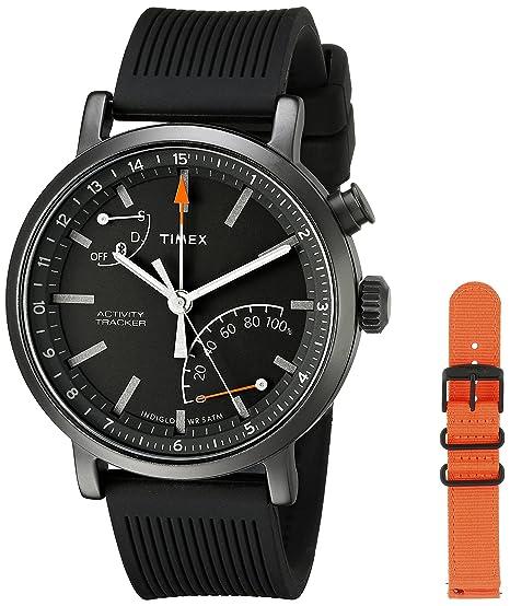 7df570df48f4 Timex Unisex TWG012600 Metropolitan+ Activity Tracker Smart Watch Gift Set  with Black Silicone and Orange Nylon Straps  Amazon.ca  Watches