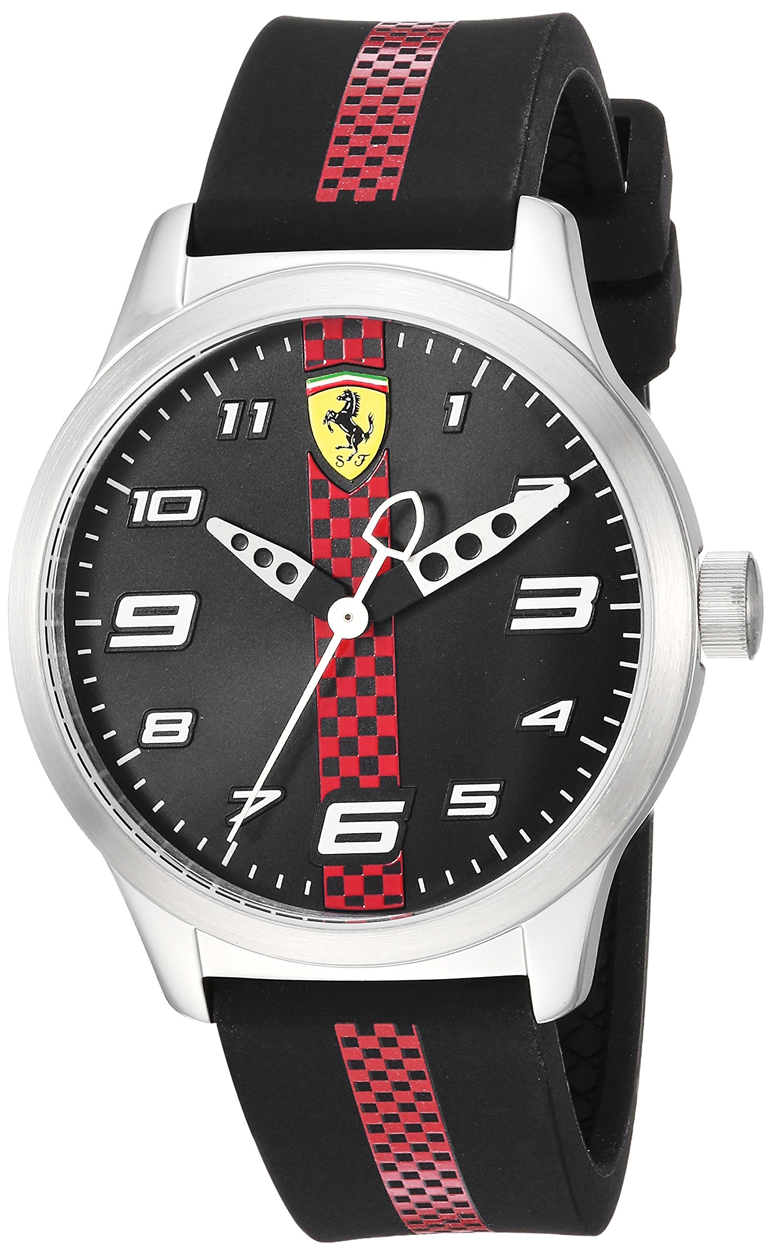 Ferrari Boy's Pitlane Quartz Stainless Steel and Silicone Strap Casual Watch, Color: Black (Model: 860002)