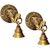 La creativity Elephant Face Wall & Door Brass Decorative Bell (Pack of 2)