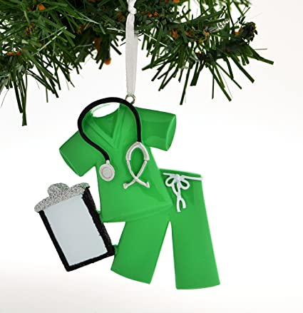 Grantwood Technology Personalized Christmas Ornament Scrubs Doctor Nurse  Green/Personalized Santa/Personalized Christmas Ornament - Amazon.com: Grantwood Technology Personalized Christmas Ornament