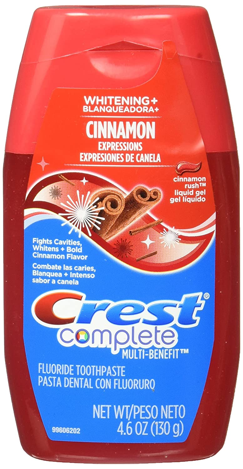 Crest Complete Whitening Plus Expressions Cinnamon Rush Liquid Gel Toothpaste 4.6 oz., (Pack of 6)