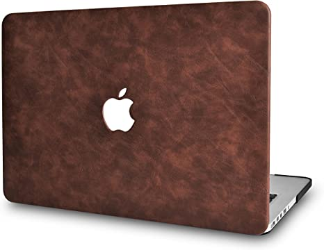 """2018 Genuine Leather Cover Case Black Red for Apple MacBook Pro 15/"""" Touch Bar"""