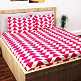 Story@Home Candy 120 TC Cotton Bed Sheet for Double Bed with 2 Pillow Cover Set - Geometric Triangles, Queen Size, Pink and White