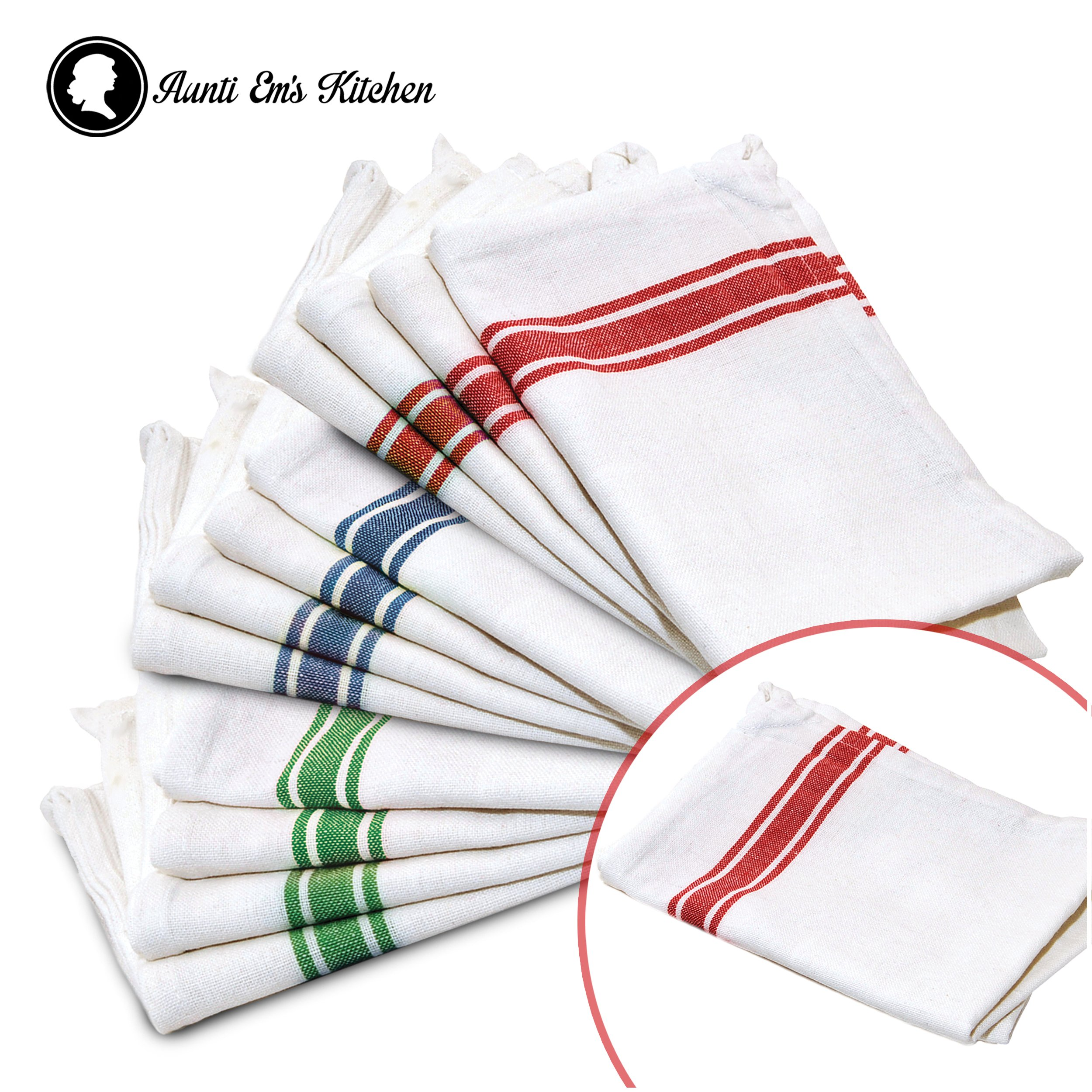 Kitchen Dish Towels with Vintage Design for Kitchen Decor Super Absorbent 100% Natural Cotton Kitchen Towels (Size: 25.5 x 15.5 inches) White with Red, Green and Blue, 13-Pack