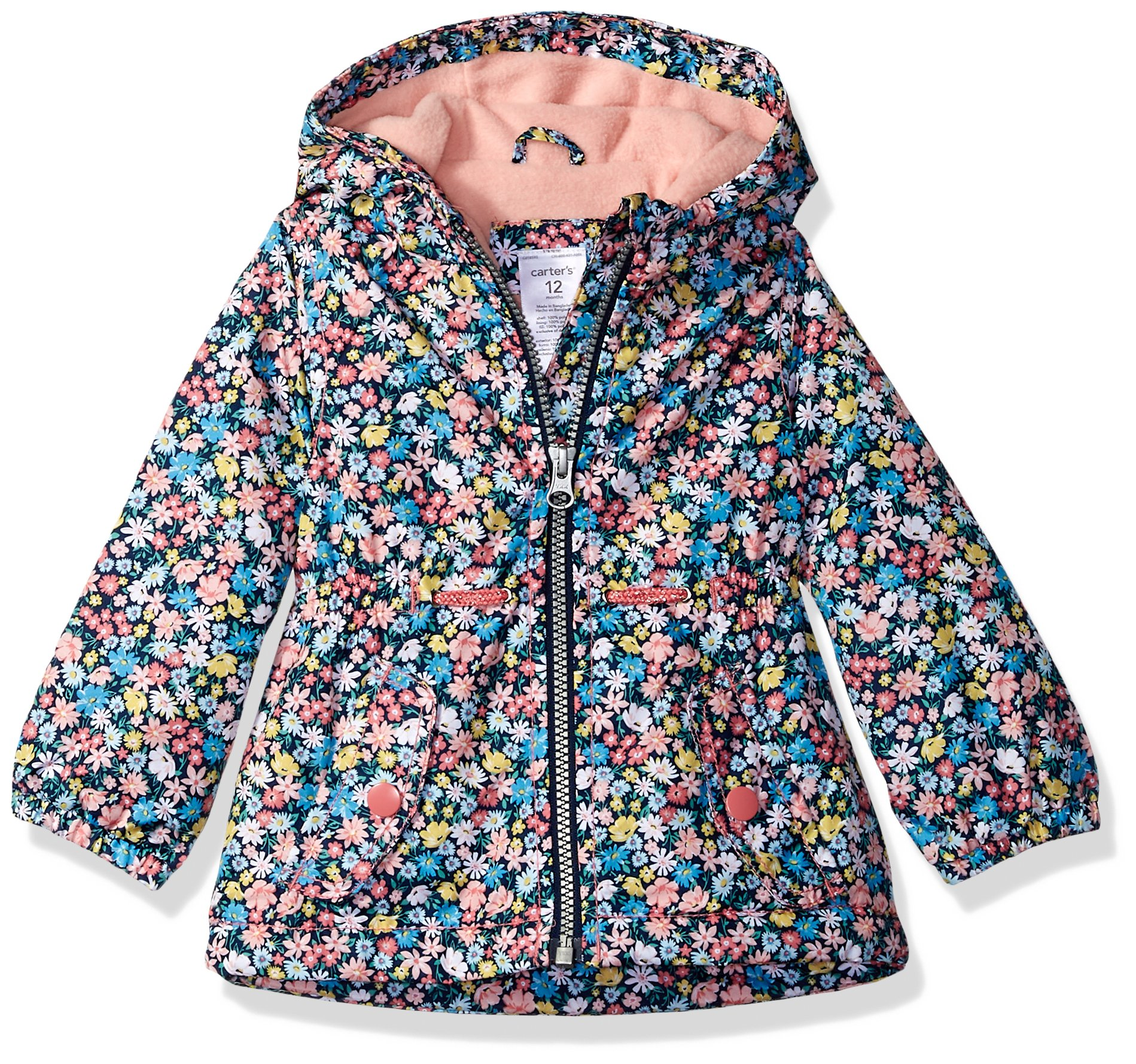 Carter's Baby Girls Midweight Fleece-Lined Jacket, Navy Floral, 18M